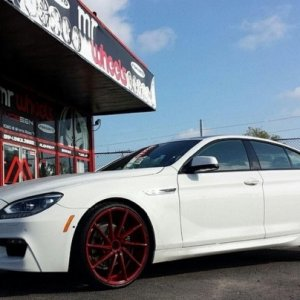 BMW 650 Grand Coupe with Vossen CVT's powder coated gloss anodized red